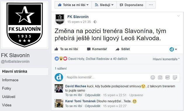 Oznámení oangažmá trenéra Kalvody utýmu Slavonína, které se objevilo na facebooku klubu