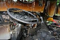 Požár nákladního auta u Mladče