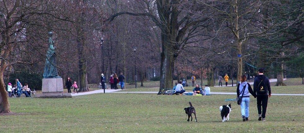 Čechovy sady v Olomouci v pátek 26. března 2021