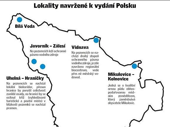 Kde vytipoval stát pozemky pro územní vyrovnání sPolskem.