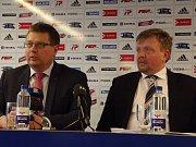 Náměstek primátora a člen představenstva SK Sigma Olomouc Martin Major (vlevo) a místopředseda představenstva SK Sigma Olomouc Petr Konečný