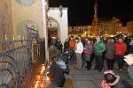 Pieta za Václava Havla u orloje na olomouckém Horním náměstí
