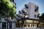 Vizualizace proměny budovy Jednoty v centru Olomouce na moderní polyfunkční dům