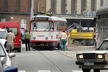 Spadlá trolej ochromila tramvajovou dopravu v Olomouci