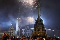 Vítání nového roku 2014 na olomouckém Horním náměstí