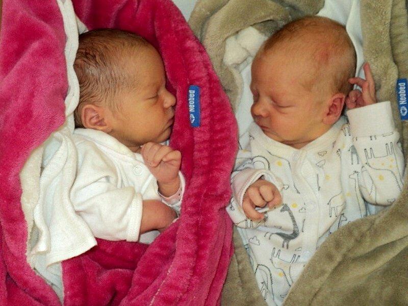 Nina a Oliver Fajtlovi, Bruntál, narozeni 7. června, míra 46 a 47 cm, váha 2430 a 2660 g