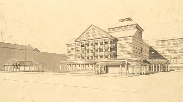 Návrh Hanáckého divadla v Olomouci na třídě Svobody z 20. let minulého století