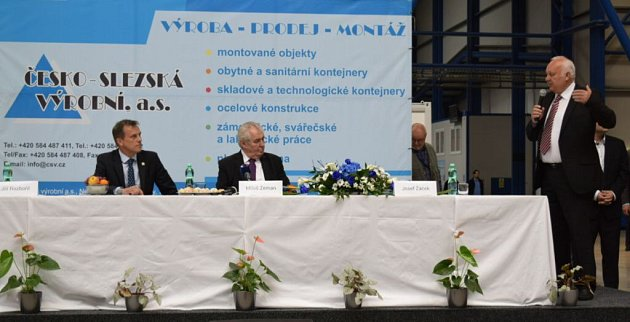 Prezident Zeman ve společnosti Česko - slezská výrobní ve Zlatých Horách