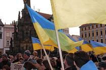 Protestní shromáždění v Olomouci proti invazi vojsk Ruské federace na Ukrajinu
