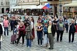 Připomenutí okupace na Horním náměstí v Olomouci.