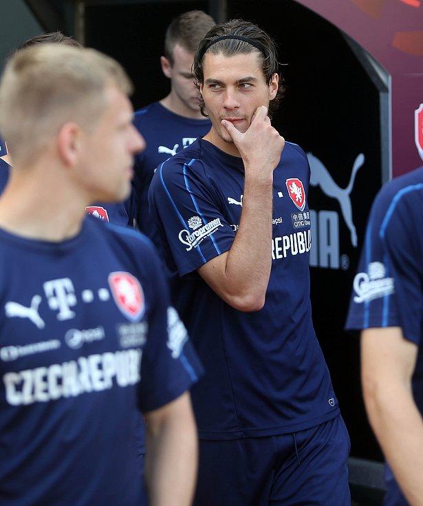Trénink české fotbalové reprezentace na Andrově stadionu před zápasem s Černou Horou. Patrik Schick