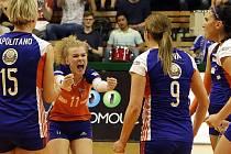 Olomoucké volejbalistky v  pátém zápase s Ostravou rozhodly o postupu do finále extraligy