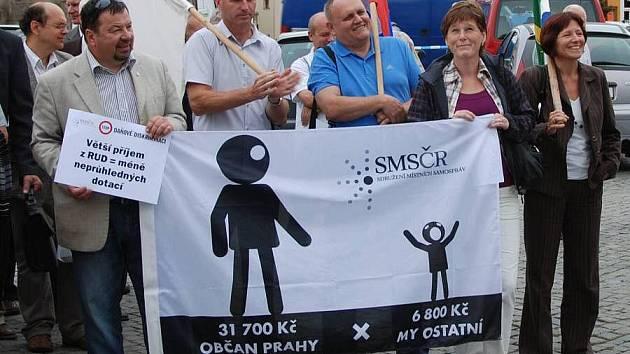 Protest starostů proti daňové diskriminaci malých obcí v Litovli