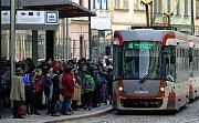 Pomalá jízda tramvají v centru Olomouce