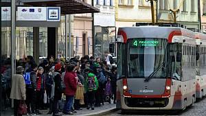 Pomalá jízda tramvají v centru Olomouce  - 20. 2. 2019