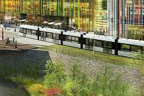 Vizualizace: tramvaj projíždí obchodním a společenským centrem Šantovka