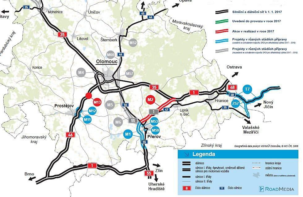 Dálnice na střední Moravě v roce 2017 + rozestavěné a plánované úseky