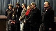 Zprava Miroslav Krobot, Lubomír Smékal, Lenka Krobotová a Jaroslav Plesl. Předpremiéra filmu Kvarteto v Šumperku