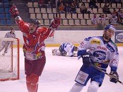 Kapitán Olomouce Richard Brančík se raduje z gólu