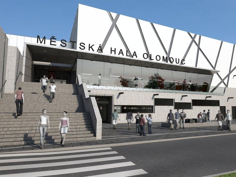 Nové vizualizace přestavby zimního stadionu v Olomouci na Městskou halu