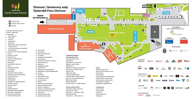 Garden Food Festival 2016vOlomouci - mapa stánků