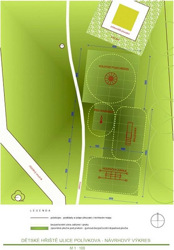 Nákres úpravy hřiště v Polívkově ulici