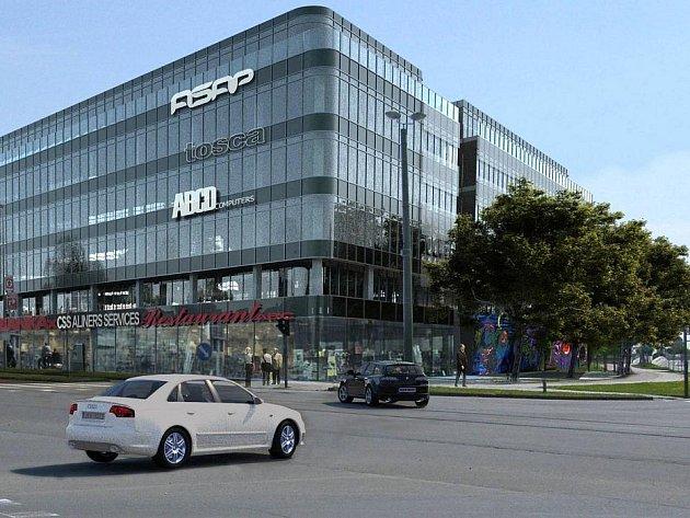 Vizualizace obchodně-administrativního centra Nová Envelopa na křižovatce třídy Kosmonautů a Witgensteinovy ulice v Olomouci.