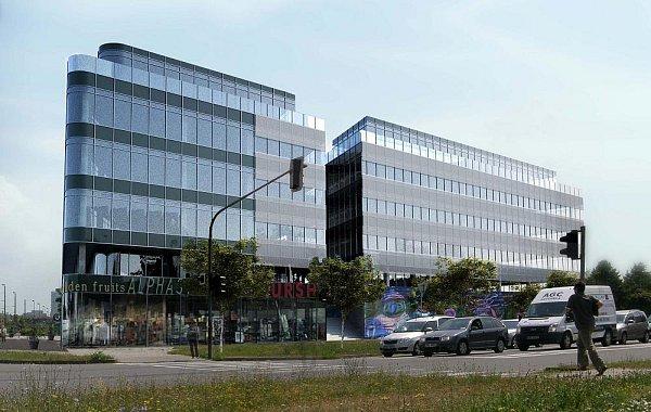 Vizualizace obchodně-administrativního centra Nová Envelopa na křižovatce třídy Kosmonautů a Witgensteinovy ulice