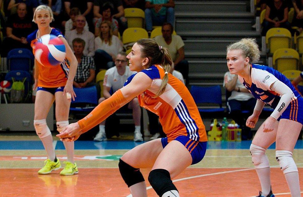 Olomoucké volejbalistky ve třetím finálovém zápase s Prostějovem
