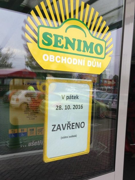 Senimo bude na státní svátek zavřené