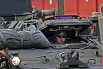 Americký armádní konvoj v přáslavických kasárnách.