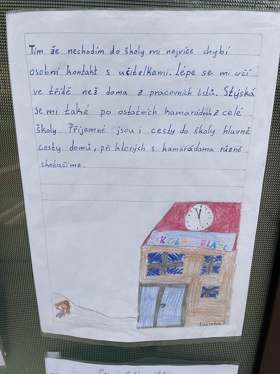 Děti v Blatci píší vzkazy své škole. ZŠ Blatec, 29. března 2021