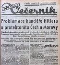 Titulní strana olomouckého Moravského večerníku 17.3. 1939