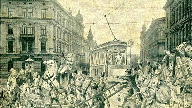 Pohlednice vydaná k příležitosti zavedení tramvajové dopravy v Olomouci 1. dubna 1899