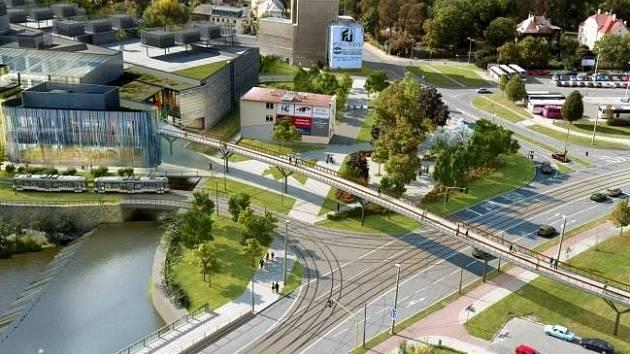 Vizualizace lávky do obchodního centra Šantovka
