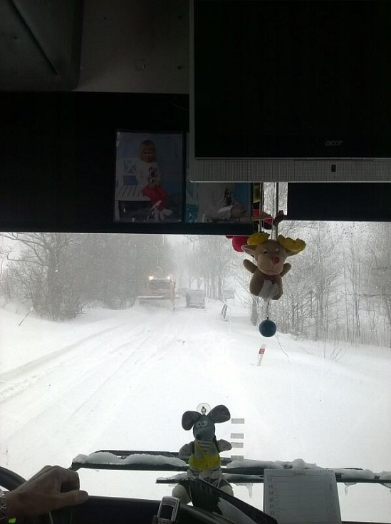 Ranní cesta do práce. Vyjela jsem před 6. hodinou ze zastávky Jindřichov na Moravě směr Jeseník. Kvůli plánované výluce trati, přijel autobus. Dojeli jsme ale pouze k viaduktu pod Ostružnou a dál se nedostali. Seděli jsme tam do 10  hodin
