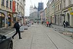 Ulicí 8.května v Olomouci v závěru listopadu 2020