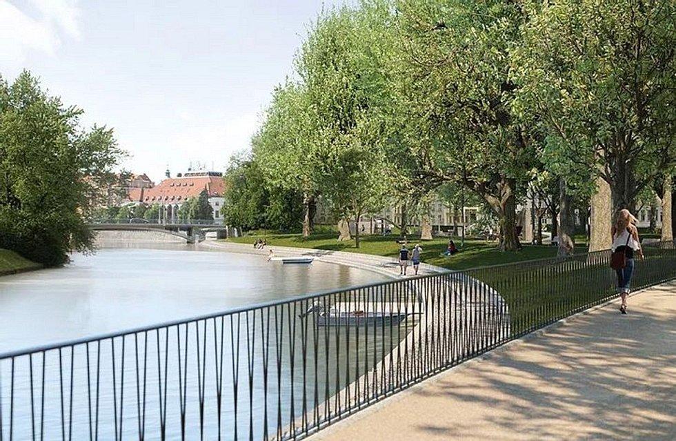 Vítězná podoba proměny parku Dukelská u řeky Malše v Českých Budějovicích