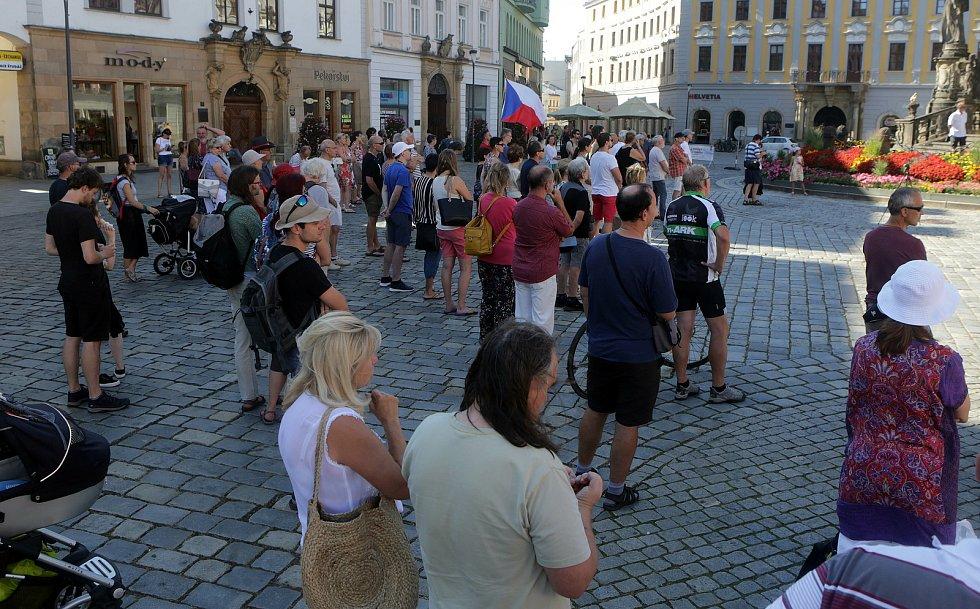 Připomínka okupace 1968 na Horním náměstí v Olomouci, 21. 8. 2020