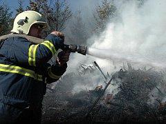 Požár v lese na Svatém Kopečku