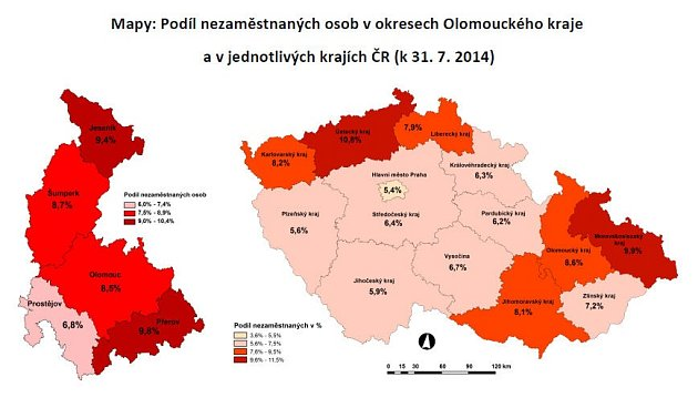 Nezaměstnanost vOlomouckém kraji - červenec 2014