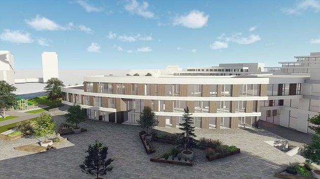 Vizualizace výsledné podoby campusu, který na pozemcích vbudoucnosti vznikne (vtuto chvíli se staví přední část půlkruhu).