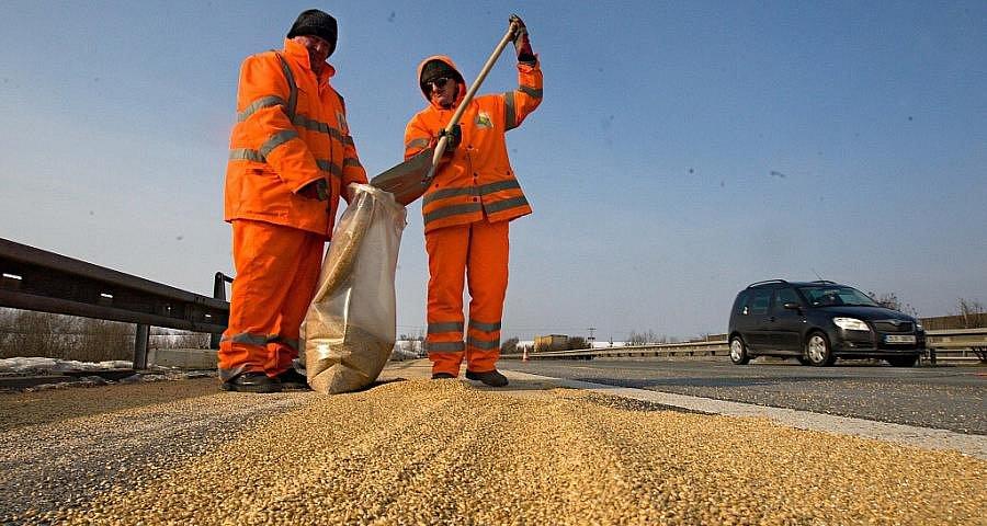 Silničáři odklízejí obilí, které se v pondělí ráno vysypalo na R35 u Velkého Újezdu