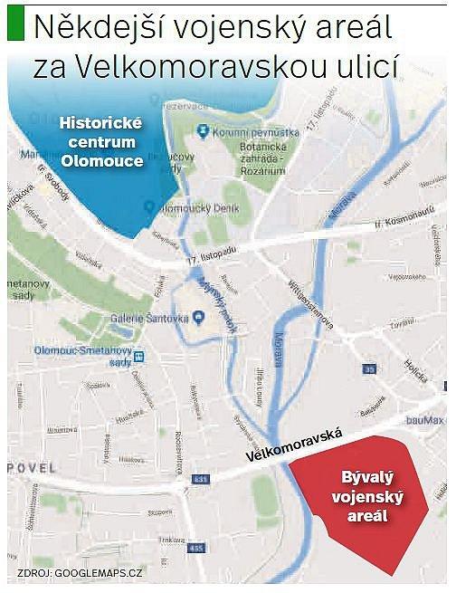 Bývalý armádní areál u řeky Moravy za Velkomoravskou ulicí v Olomouci