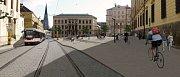 Vizualizace návrhu náměstí Republiky ve variantě bez stromů v ploše. Hlavní plocha náměstí bude mírně zvednuta a propojena s chodníkem třemi schody.