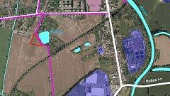 Umístění nového parku (červený trojúhelník) u Hamrysu na pomezí Nových Sadů a Slavonína