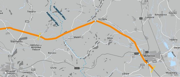 Trasa D35 z Olomouckého do Pardubického kraje