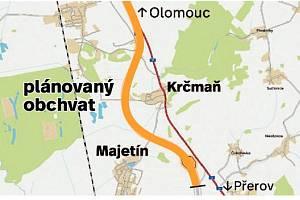 D55 s plánovaným obchvatem Krčmaně
