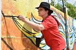 Akce Urban art jam u Velkomoravské ulice v Olomouci. 26. června 2021