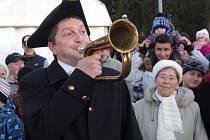 Starosta Dolních Studének Radim Sršeň při recesistické akci